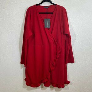 Pretty little liars ruffle cross front NWT red dre